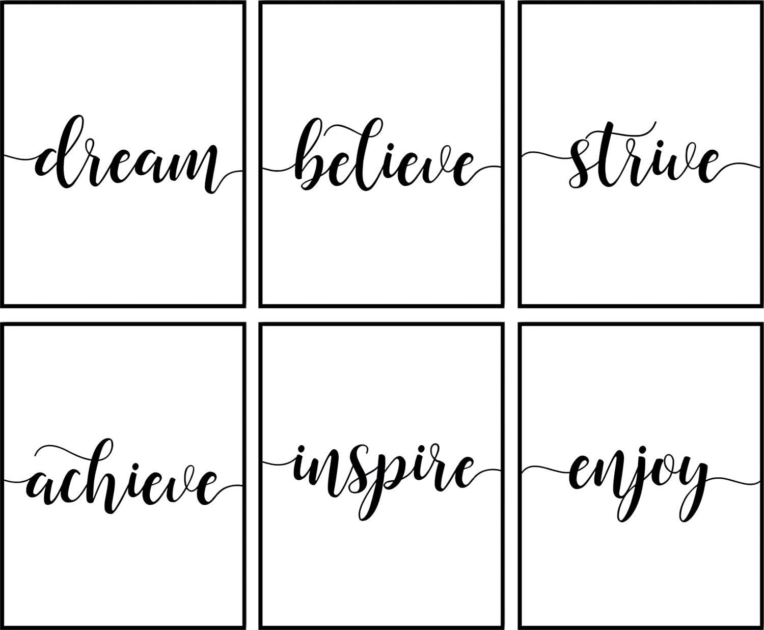 Inspirational Wall Art Décor For Office Or Home | Motivational & Positive Quotes & Sayings | Black & White | Six 8 x 10 Cute Prints Perfect Decorations For Any Room | Set 2 Unframed