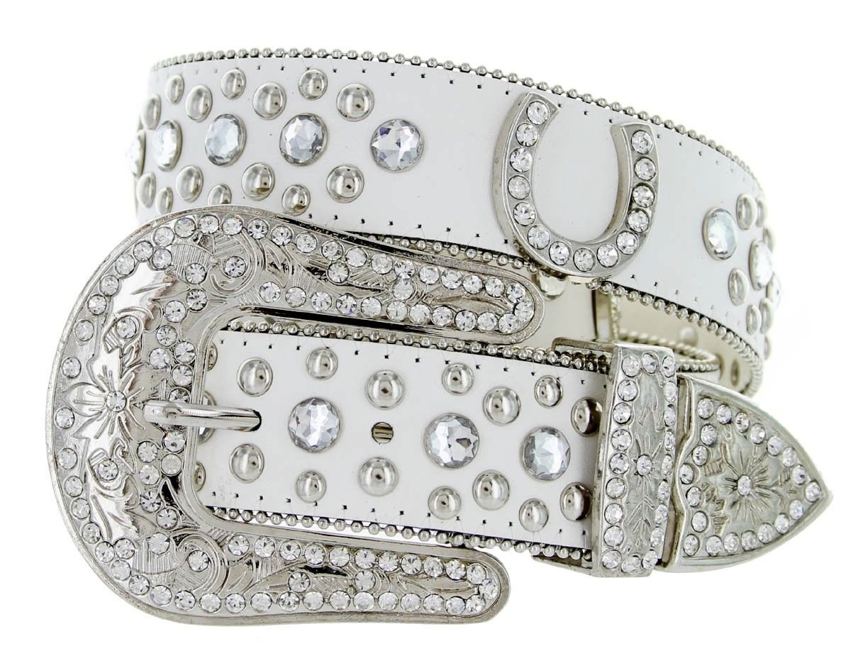 Western Cowgirl Horseshoe Charm Bling Belt with Rhinestone Studded Buckle and Strap (34, Black) 50125-BLK-34