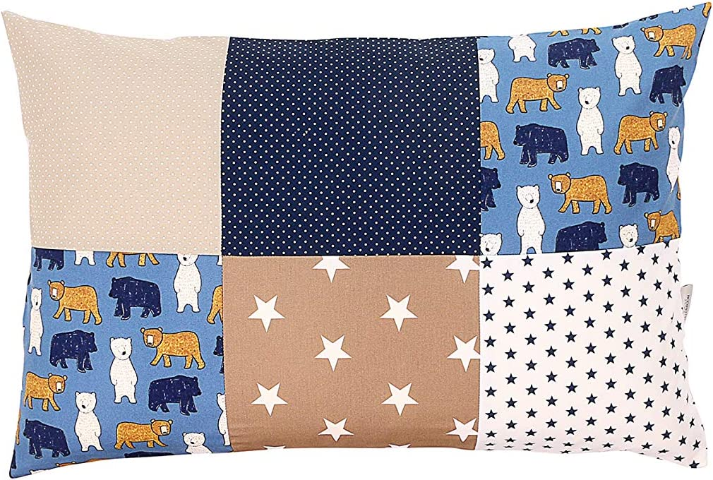 ULLENBOOM//® Baby Pillowcase Grey Stars with Zip, can Also be Used as a Decorative Cushion Cover; Motifs: Stars, Patchwork 40 x 60 cm