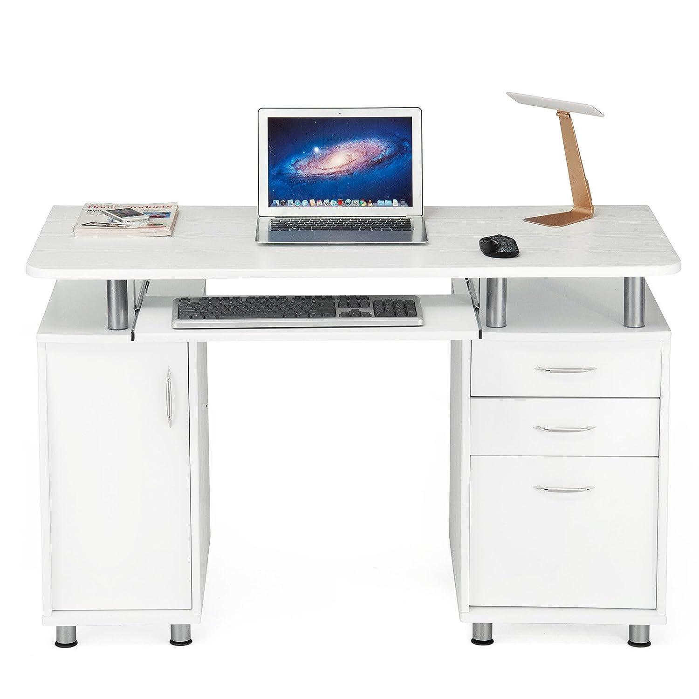 Songmics bureau informatique meuble de bureau pour for Meuble haut informatique