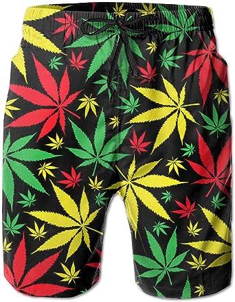 SARA NELL Men's Swim Trunks Jamaican Marijuana Weed Leaf