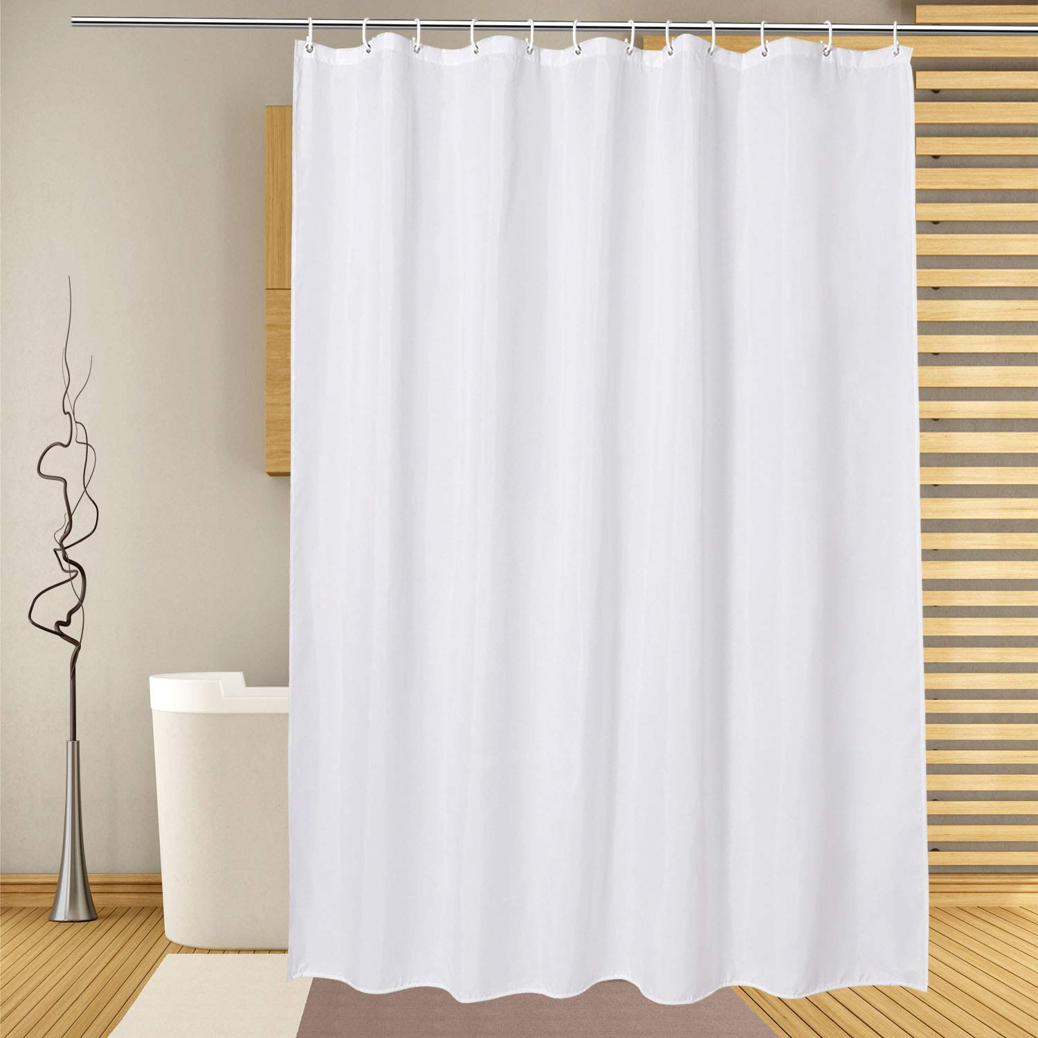 Extra Long Shower Curtain Liner 72 x 86 Inch, White Fabric Shower Curtains for Spa Hotel Bathroom, Water Repellent, Machine Washable, 86 Inches Long