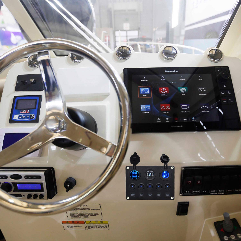 fornorm 5 velocidades 12 V//24 V Auto Barco marino Interruptor de palanca on off Interruptor Panel interruptor con 5 V 2.1 A Dual USB cargador digital volt/ímetro Encendedor de cigarrillos Socket