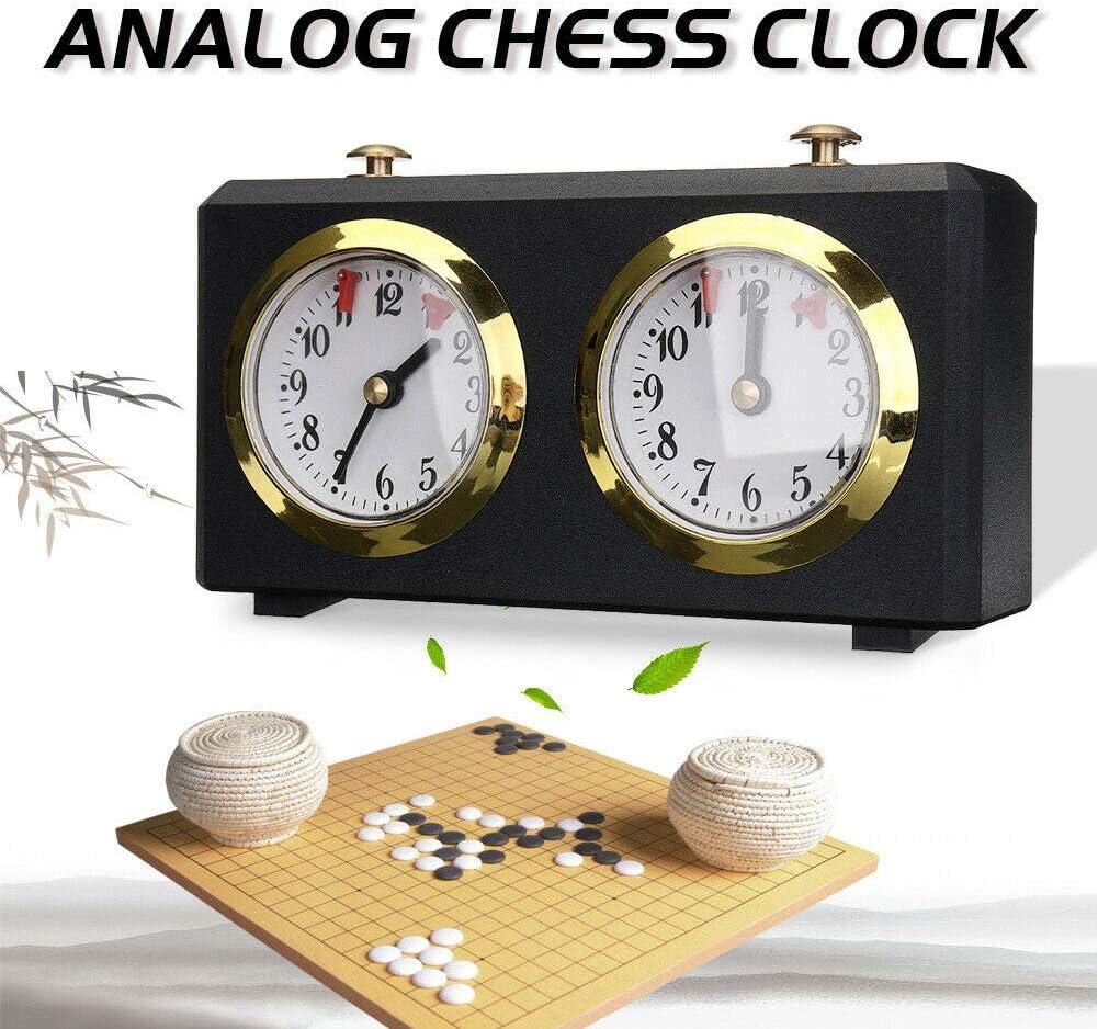 Schach Retro-analoge Schachspiel-Timer Count Up ORETG45 Schachuhr analoge Uhr professionelle Schachuhr nicht null Timer Count Down-Timer Schwarz I-Go Spieluhr Free Size
