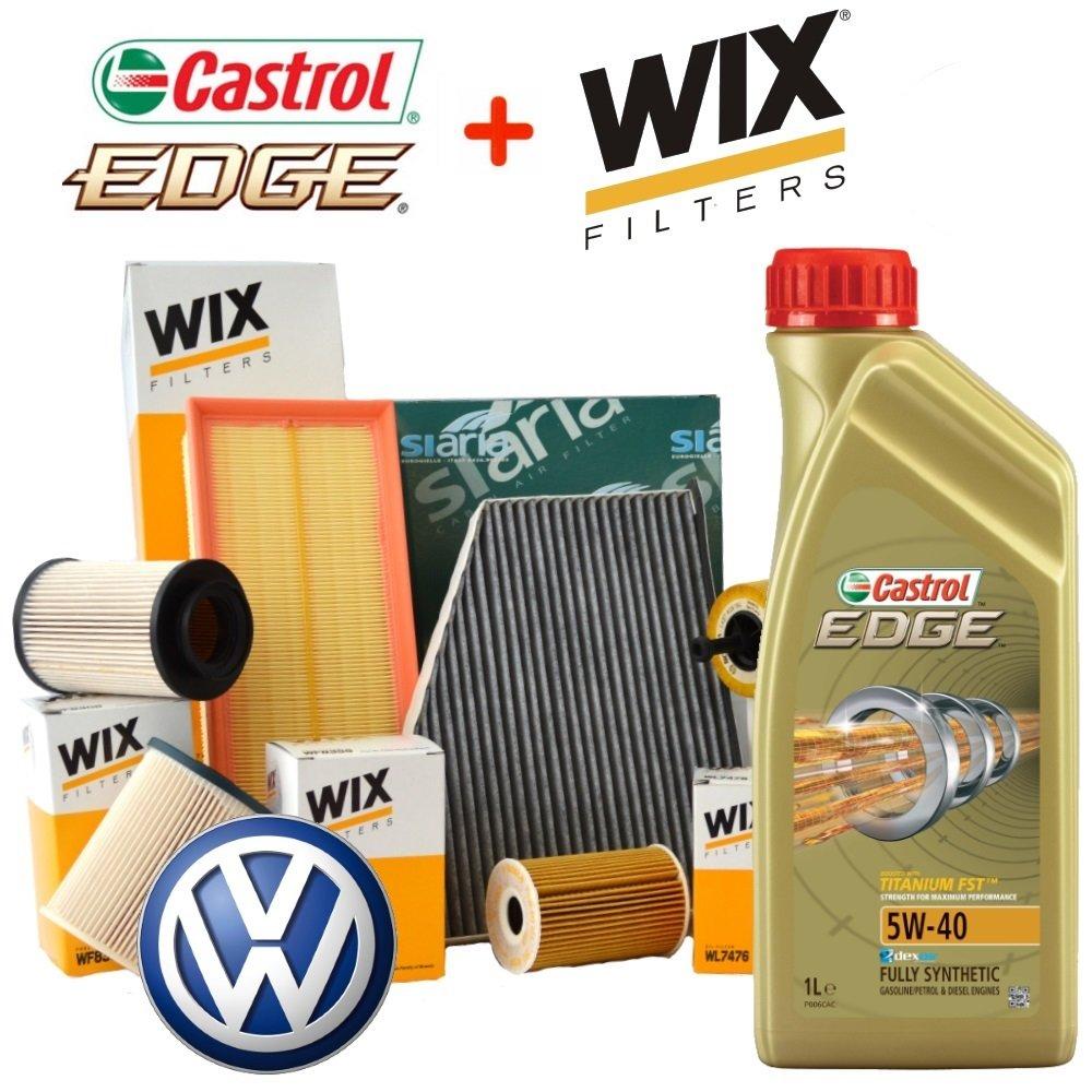 Kit Tagliando aceite Castrol Edge 5 W40 5lt 4 filtros Wix (WL7296, WF8308 - WF8355, WA6781, V3683)