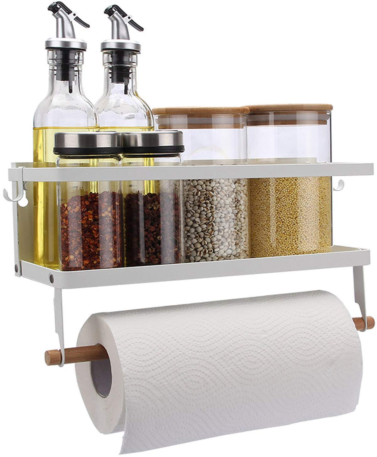Magnetic Fridge Organizer, Paper Towel Holder, Kitchen Rack, Rustproof Spice Jars Rack, with 2 Removable Mobile Hooks (White)