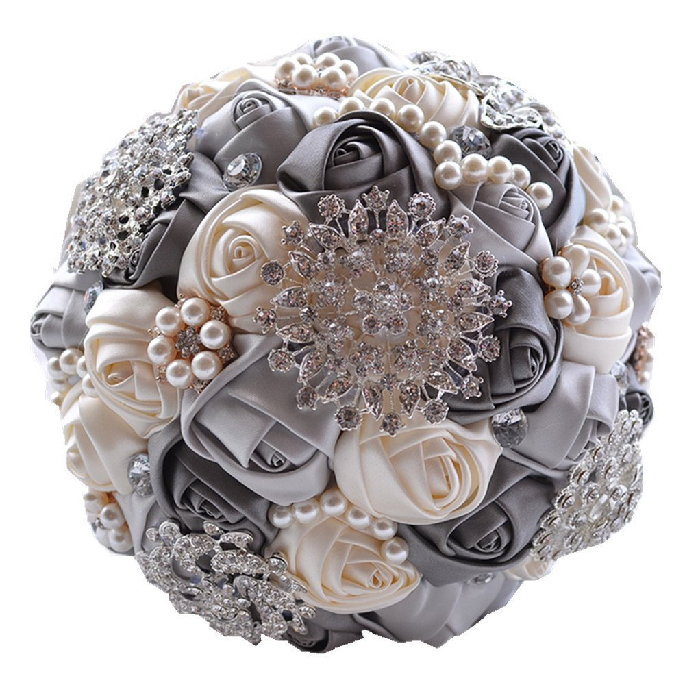(Gray) Romantic Wedding Bride Holding Bouquet Roses with Diamond Pearl Ribbon Valentine's Day Bouquet Confession (grey) B01C5JW3RQGray
