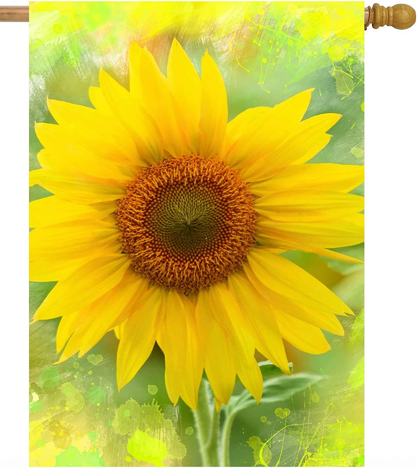 Pickako Watercolor Seasonal Sunflower Flowers Summer Spring Agriculture Landscape House Flag 28 x 40 Inch, Double Sided Large Garden Yard Welcome Flags Banners for Home Lawn Patio Outdoor Decor