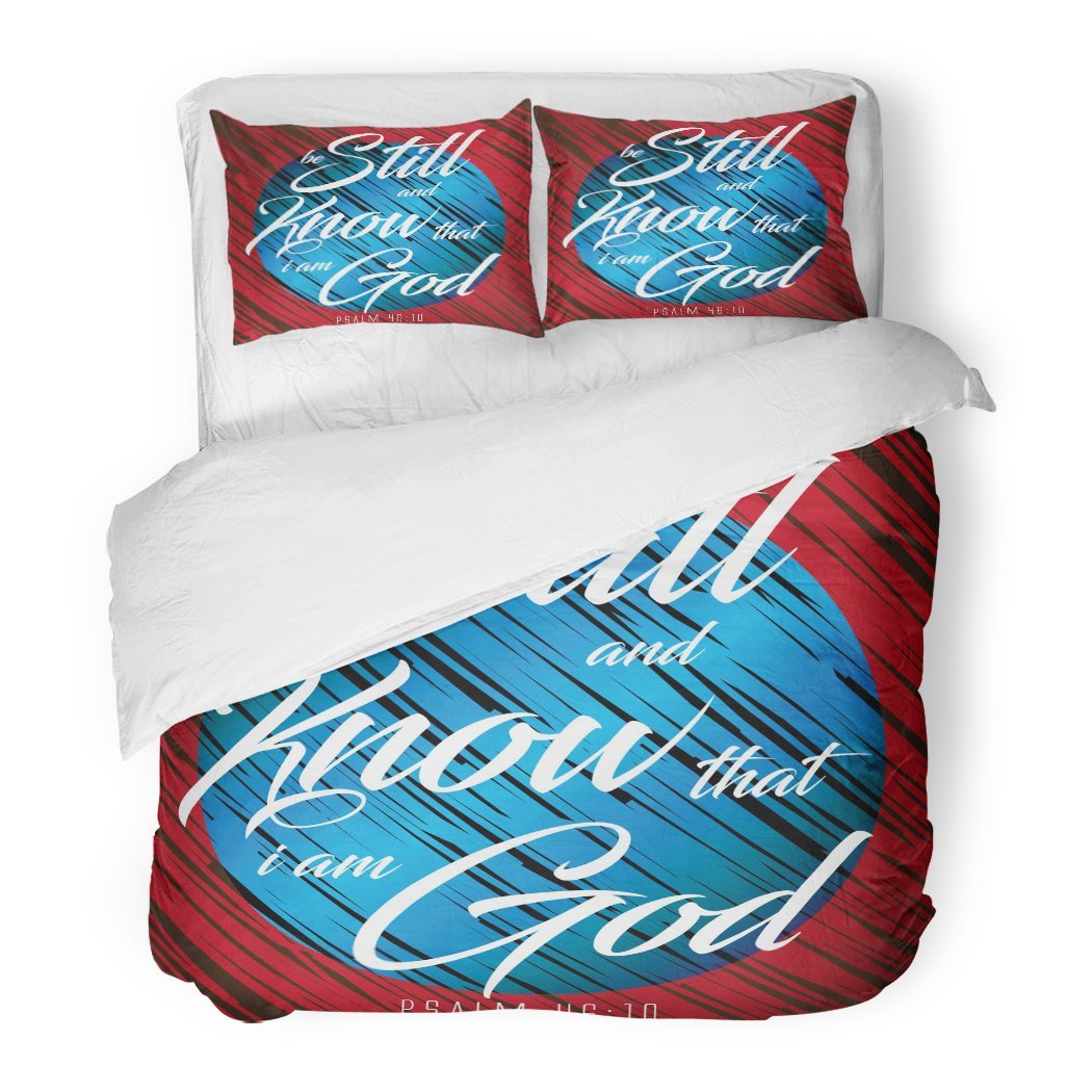 SanChic Duvet Cover Set Verse Bible Design Be Still Know That God is in Control Calligraphy Christian Decorative Bedding Set Pillow Sham Twin Size