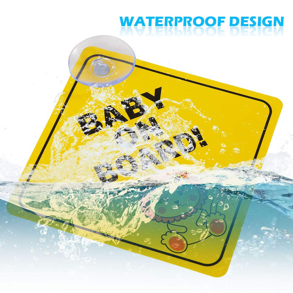 Kids Safety Warning Premium PP With Powerful Suction Cups for Car Baby on Board Stickers Stronghigheu 2 Pcs Baby On Board Signs