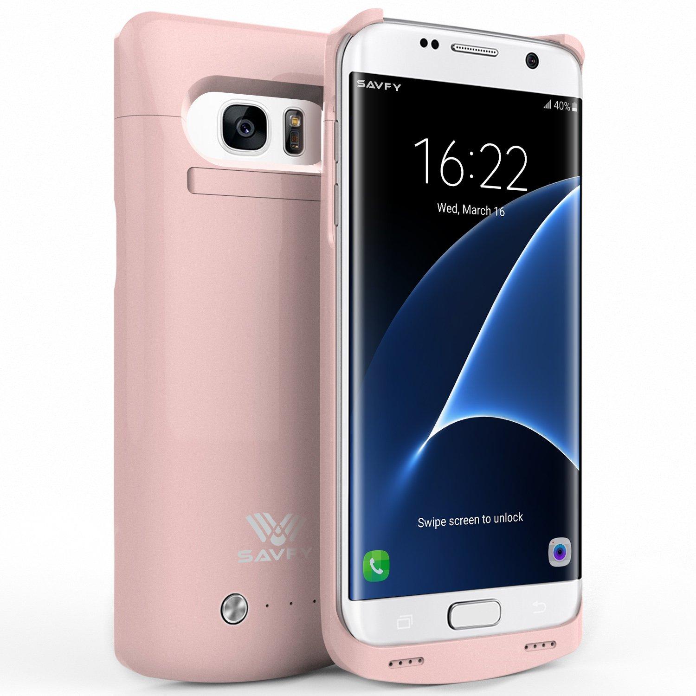 Funda Batería Galaxy S7 Edge , SAVFY® Case carcasa Con Batería Cargador-batería Externa Recargable 5200mAh Para Samsung Galaxy S7 Edge (Rosado) CPA2004PK