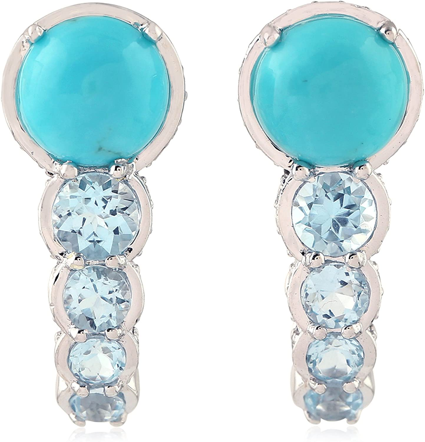 Amazon Com Turquoise Blue Topaz Ear Jewelry 14k White Gold