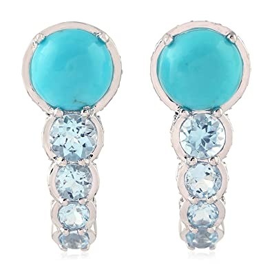 4525db6f39f4 Image Unavailable. Image not available for. Color  Turquoise   Blue Topaz  Ear Jewelry 14K White Gold Diamond Stud Earrings