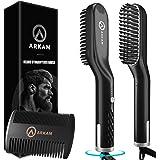 Arkam Premium Beard Straightener for Men - Ionic Technology Heated Beard Brush - Includes Dual Action Fine Wooden Comb & Trav