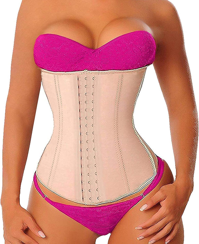 YIANNA Latex Waist Training Corsets Zip/&Hook Underbust Fat Burner Hourglass Body Shaper
