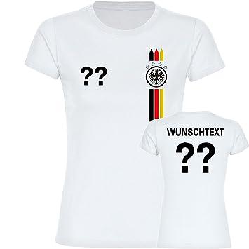 Multi Fan Shop Camiseta de Alemania Águila Camiseta líneas multicolores con el texto & Número a