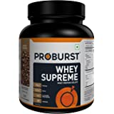 Proburst Supreme Whey Protein Powder With Glutamine & BCAAs 1 Kg |28 Servings |24 gm Protein Per Serving -Coffee