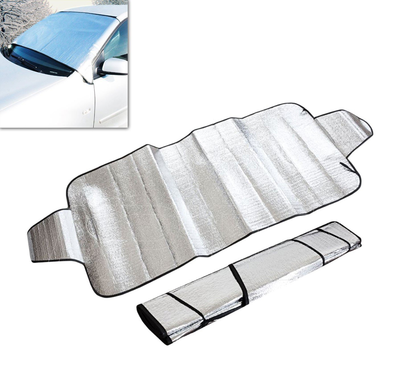 Cubierta para el cristal delantero del coche y parabrisas anti-heladas y anti-hielo con aletas laterales para la có moda fijació n (70 x 150cm) - LIFETIME CARS mws1747