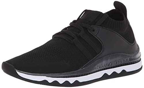 A|X Armani Exchange Womens Lace Up Athleisure Sneaker Track Shoe, Black, 41