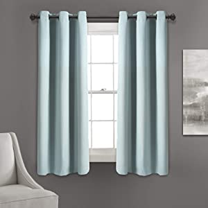 "Lush Decor Absolute Blackout Blue Insulated Grommet Window Curtain Panel Pair | Room Darkening, Energy Efficient, 63"" x 38"