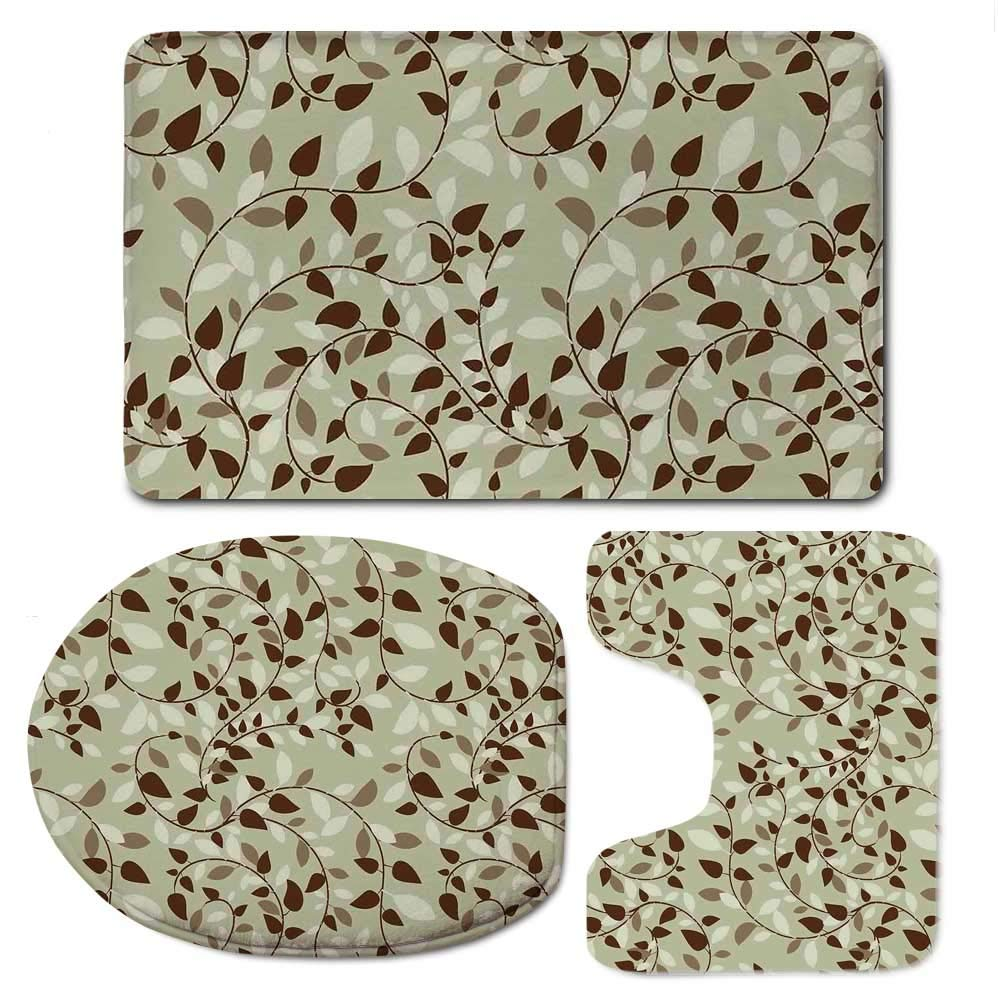 YOLIYANA Leaves Bathroom 3 Piece Mat Set,Pattern with Vines Leaves Nature Curvy Branch Plants Garden Floral Art Decorative for Indoor,F:20'' W x31 H,O:14'' Wx18 H,U:20'' Wx16 H