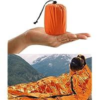 HONYAO Saco de Emergencia Dormir, Supervivencia Bivvy Manta, Impermeable Aislamiento Térmico Albergue, Brillante Naranja…