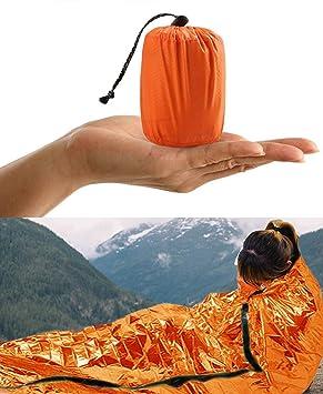 HONYAO Saco de Emergencia Dormir, Supervivencia Bivvy Manta, Impermeable Aislamiento Térmico Albergue, Brillante Naranja, Ligero y Reutilizable para Acampar ...