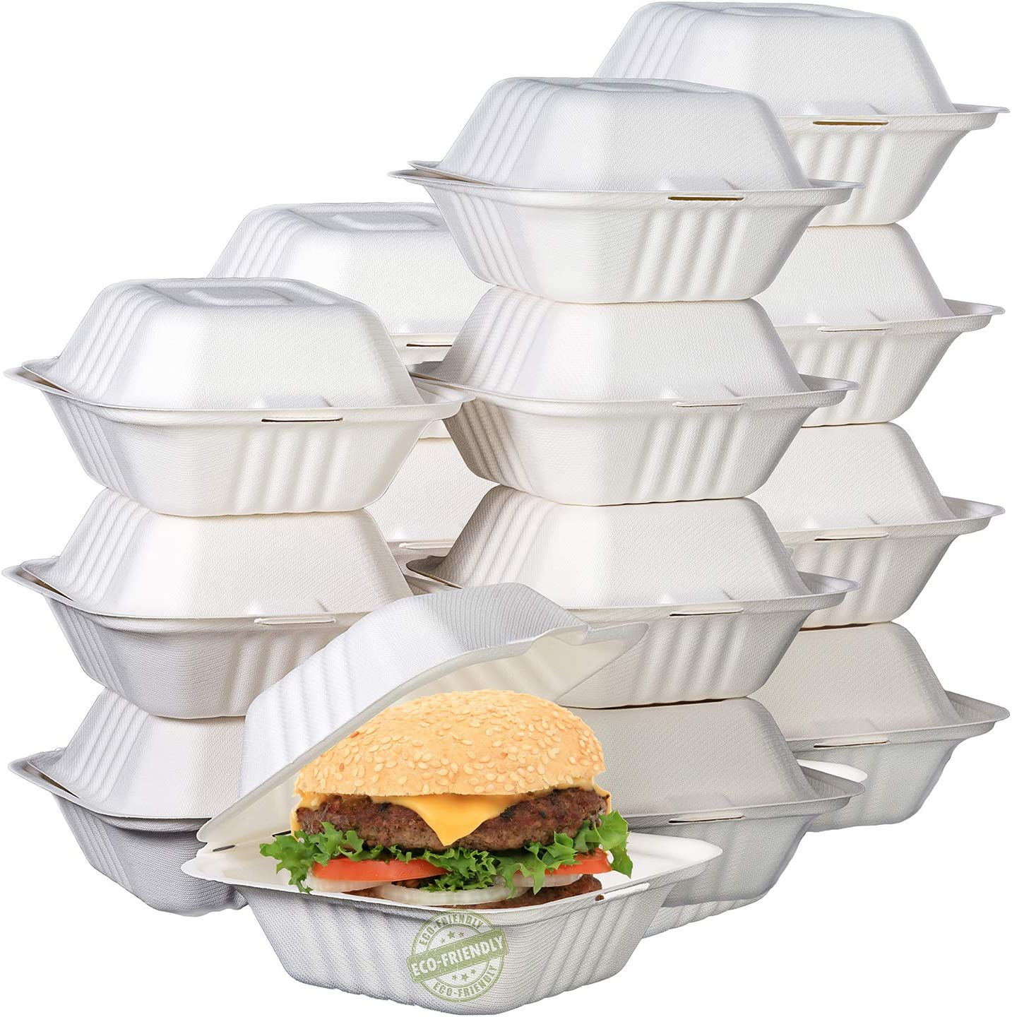 Green Earth 6-inch, 500-Count, Compostable Clamshell, Natural Bagasse (Sugarcane Fiber), Take-Out/to-Go Food Boxes - Biodegradable Containers, Hinged Lid - Microwave-Safe - Gluten-Free - Eco-Friendly