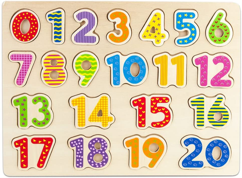 Imagination Generation Professor Poplar's Wooden Numbers Puzzle Board – Learn to Count with Colorful Chunky Numbers