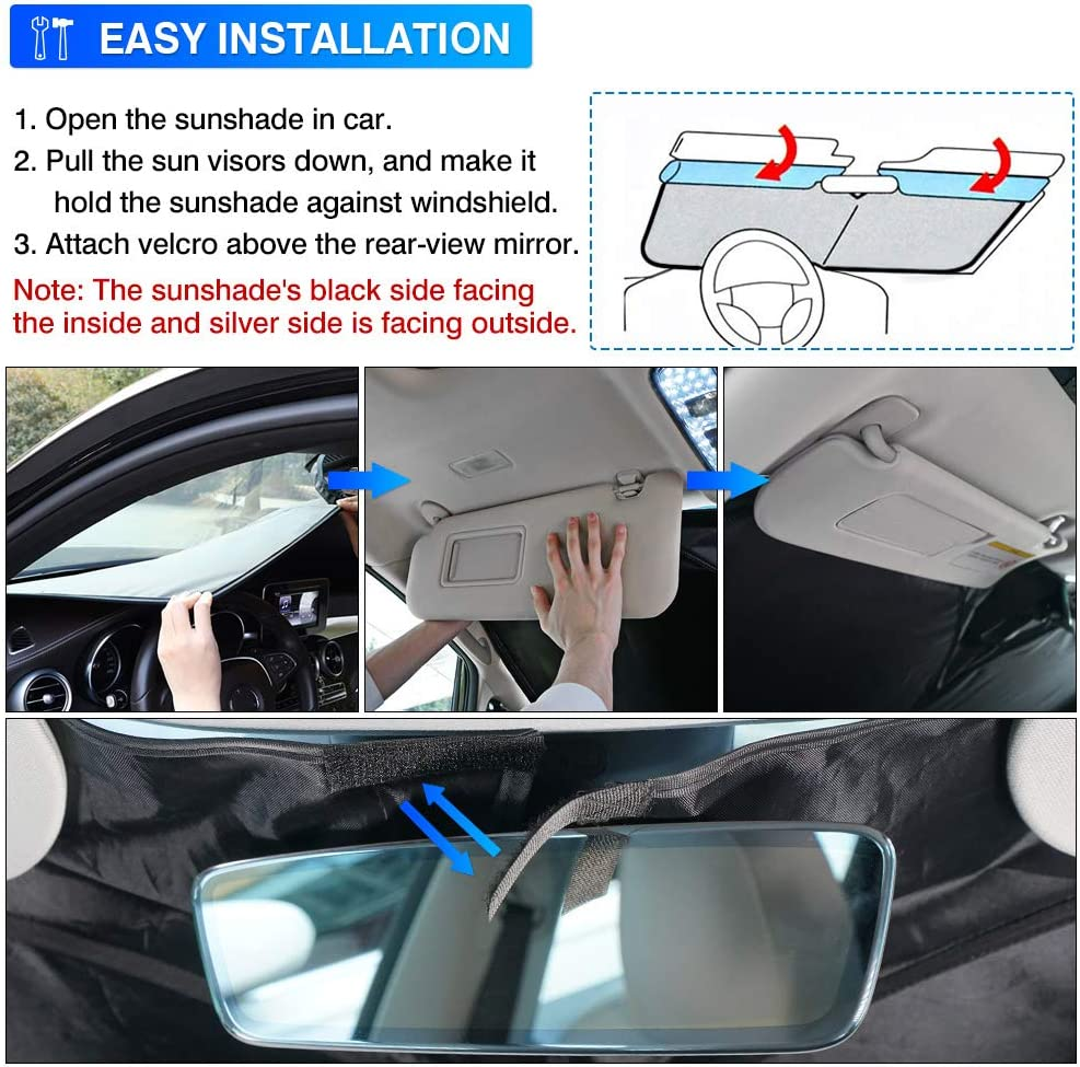 KUST Windshield Sun Shade for Ford EcoSport 2014-2020 2021 Sunshade Foldable Sun Visor Protector Blocks UV Rays Keep Your Car Cooler