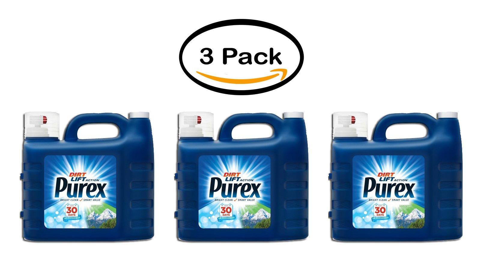 PACK OF 3 - Purex Liquid Laundry Detergent, Mountain Breeze, 300 Fluid Ounces, 200 Loads