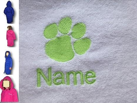 Albornoz con capucha infantil con un Paw Print Logo y nombre de su elección en color