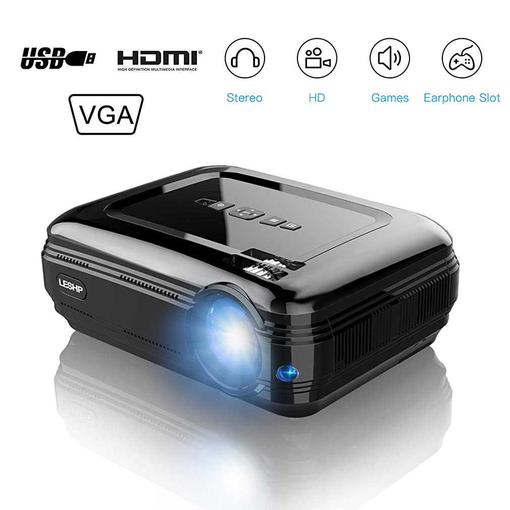 LESHP 3200 Lumens LCD Projector, HD Multimedia Home Theater Video Projector 19201080 Resolution Support 1080P HDMI USB VGA AV for Mobile Home Cinema TV Laptop Game with HDTV cable