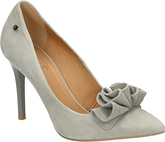Grey Suede Leather high Heel Pumps