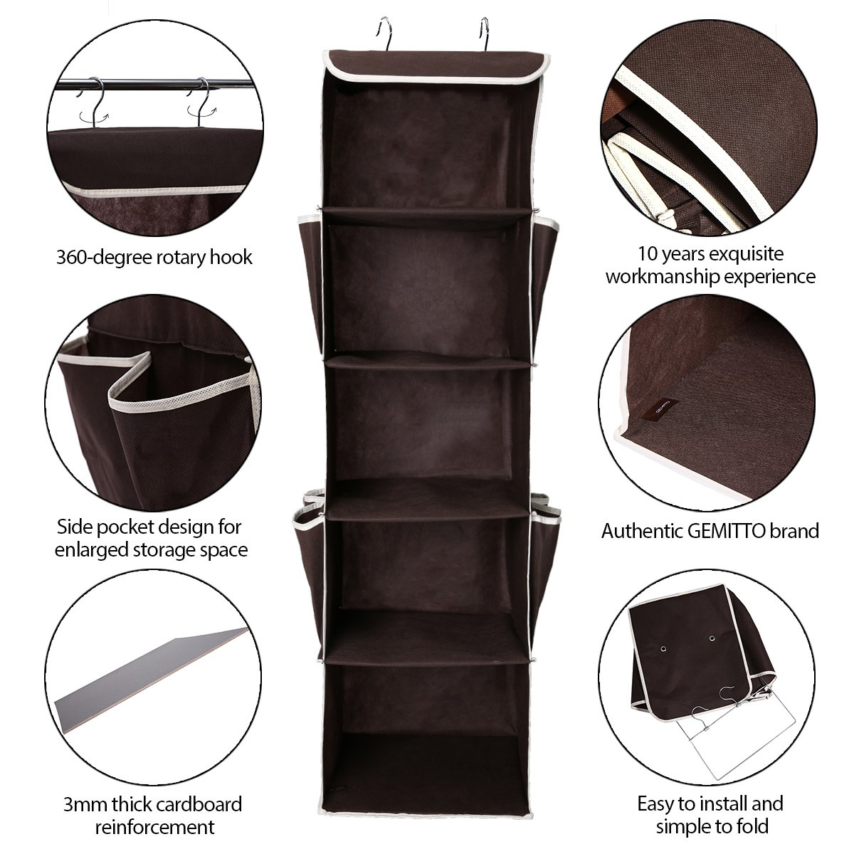 GEMITTO Heavy Duty 5 Shelves Hanging Wardrobe Closet Organizer Clothes Storage Box Accessory Shelves with Side Pockets Brown