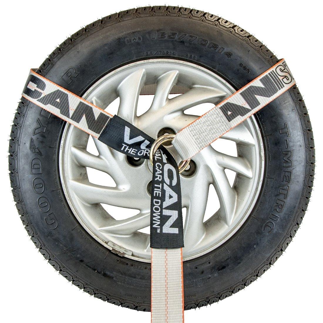 Vulcan Silver 96 Lasso Auto Tie Down w//Flat Hooks 4 Pack 3300 lbs SWL