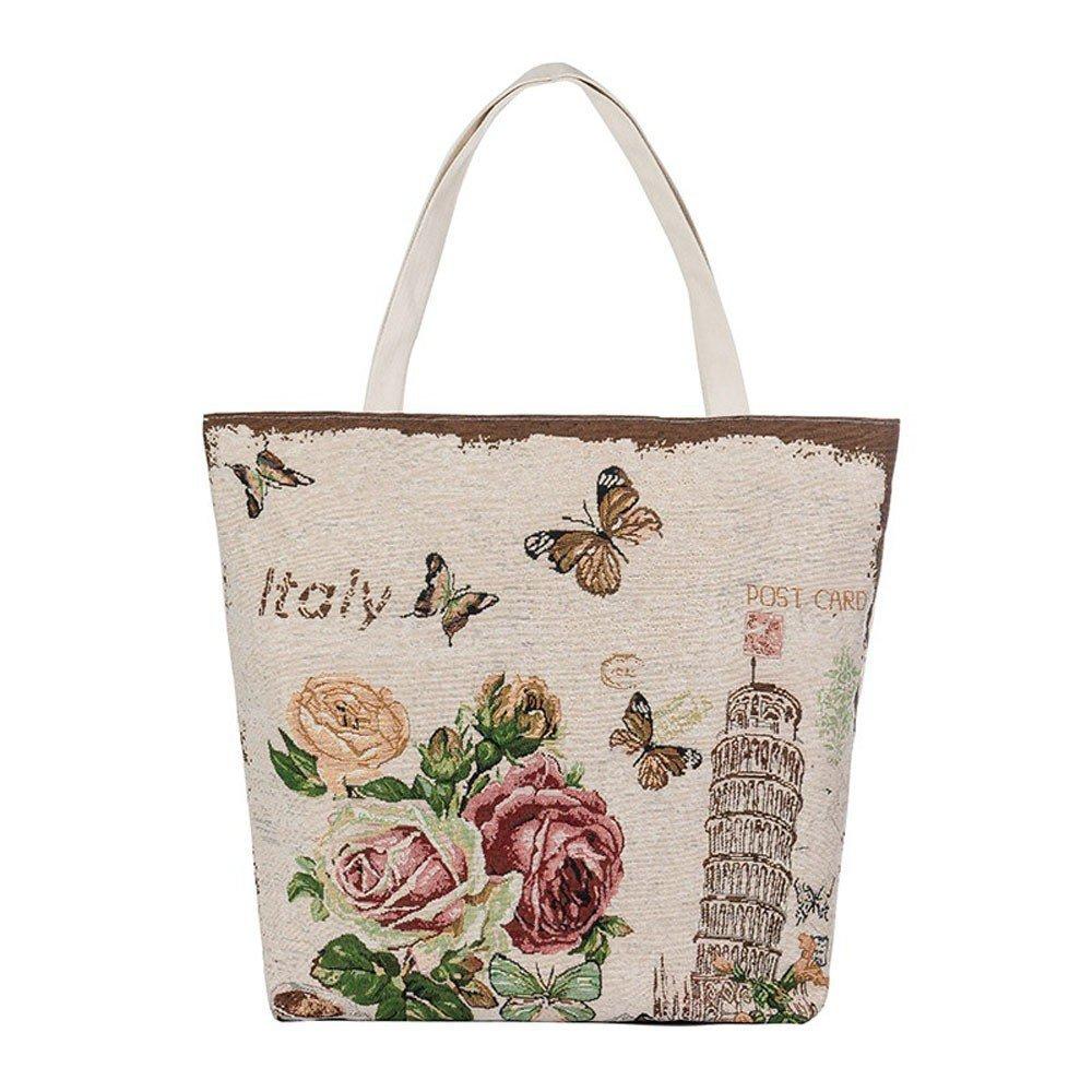 Liraly Gift Bags, 2018 Crossbody Bag Eiffel Tower Flowers Canvas Tote Casual Beach Bags Women Shopping Bag Handbags (B)