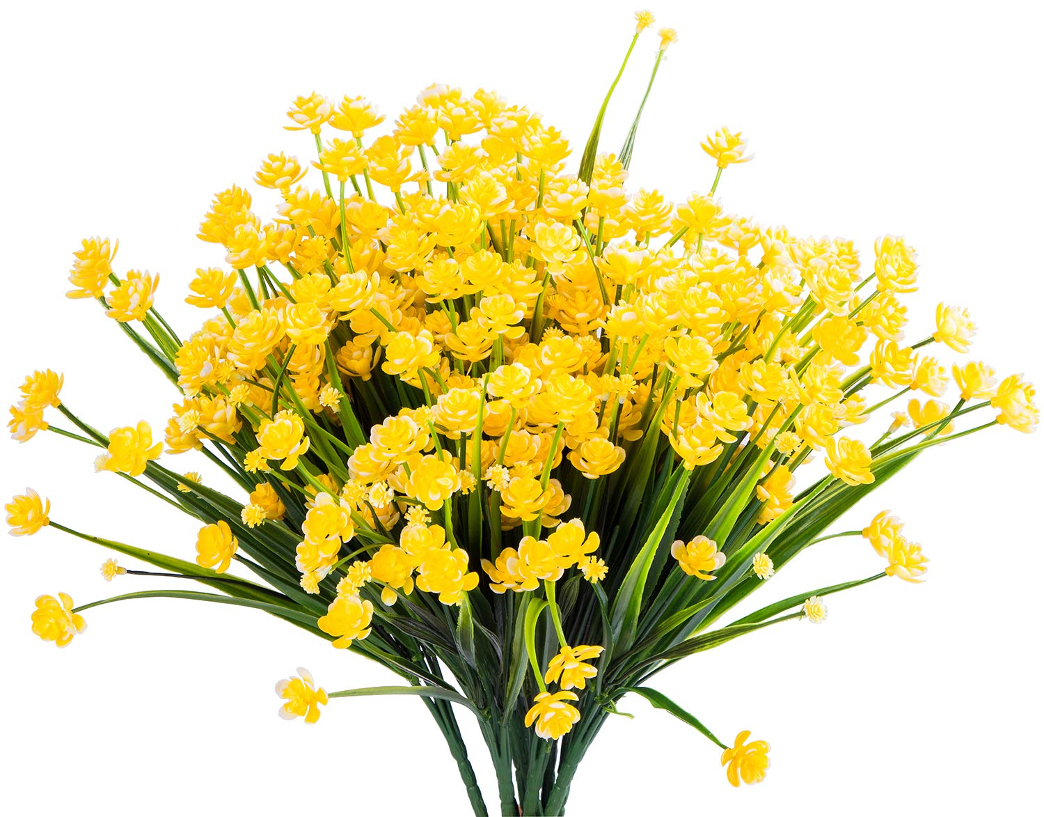 Foraineam 10 Bundles Yellow Daffodils Artificial Flowers Fake Plants Plastic Bushes Greenery Shrubs Fence Indoor Outdoor Hanging Planter Home Garden Decor