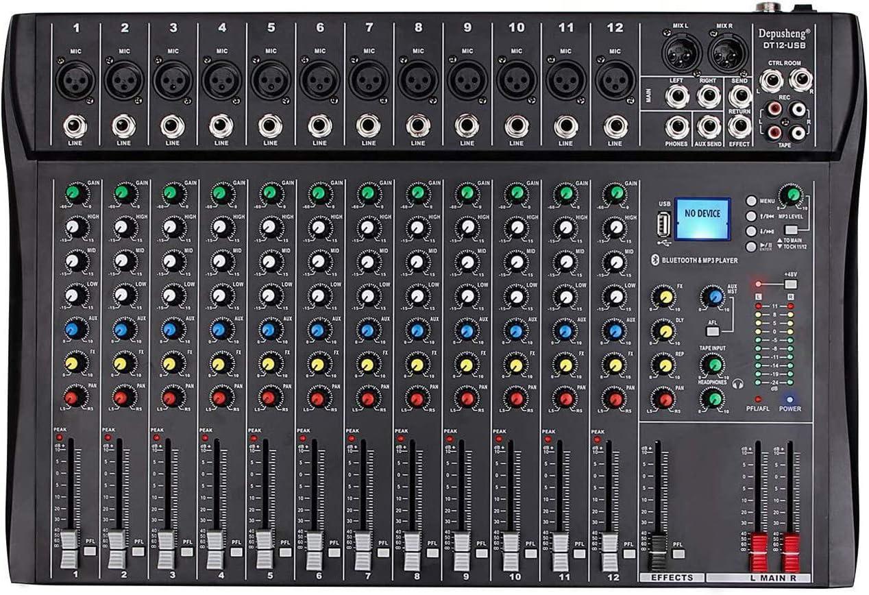 Depusheng Professional 12 Channel Bluetooth DJ Mixing Console Karaoke Amplifier Digital KTV Sound Mixer with USB for Computer Recording, Bands