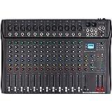 Depusheng DT12 Studio Audio Mixer 12-Channel DJ Sound Controller Interface w/USB Drive for Computer Recording Input, XLR Micr