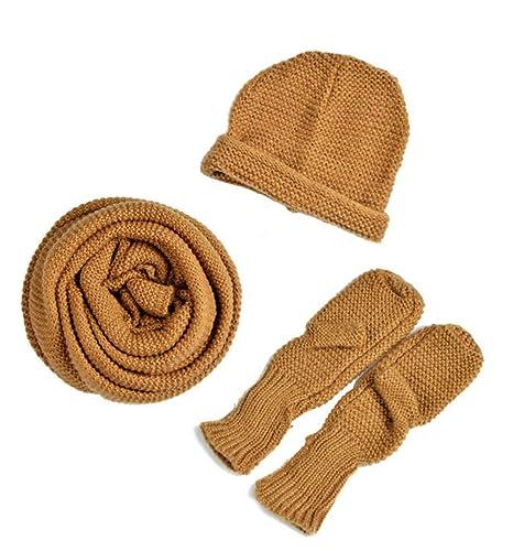 Donna Colore Solido 90% lana 10% cotone Coordinati invernali a Maglia(Marrone)