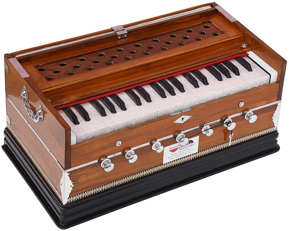 Harmonium Eco Model By Kaayna Musicals, Brown Colour, 7 Stops- 2 Drone, 3¼ Octaves, Gig Bag, Bass/Male Reed Tuned- 440 Hz, Best for Peace, Yoga, Bhajan, Kirtan, Shruti, Mantra, etc by Kaayna Musicals (Image #6)