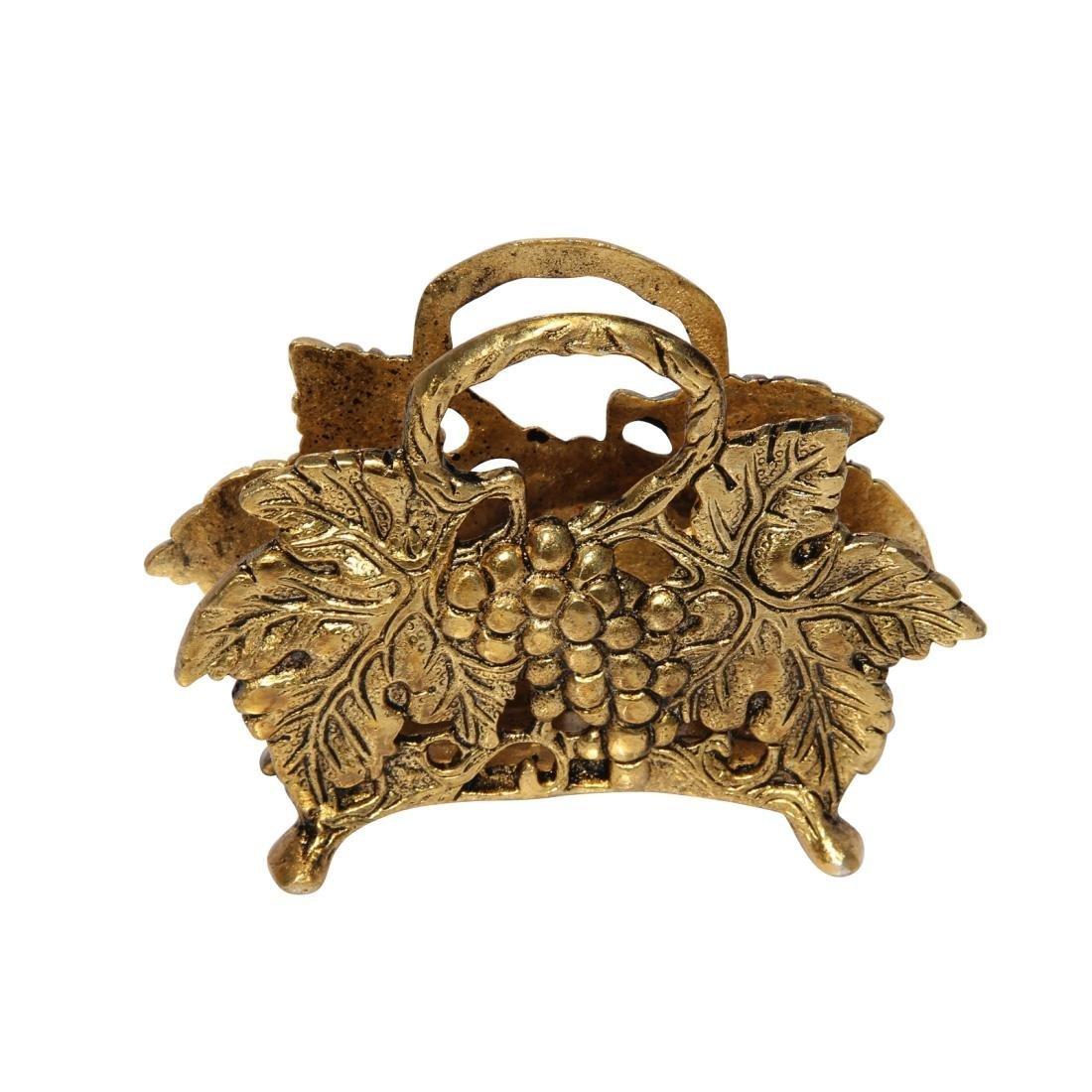 Handicrafts Paradise Napkin Holder Fruits Pattern in Metal Antique Golden Finish by Handicrafts Paradise