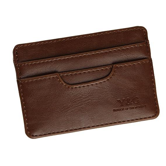 YCM040102 oscuro Id Tarjeta de Brown Holder Con 5 Card Holder cršŠdito / ID titular caso Monedero regalo para los hombres por Y&G: Amazon.es: Ropa y ...