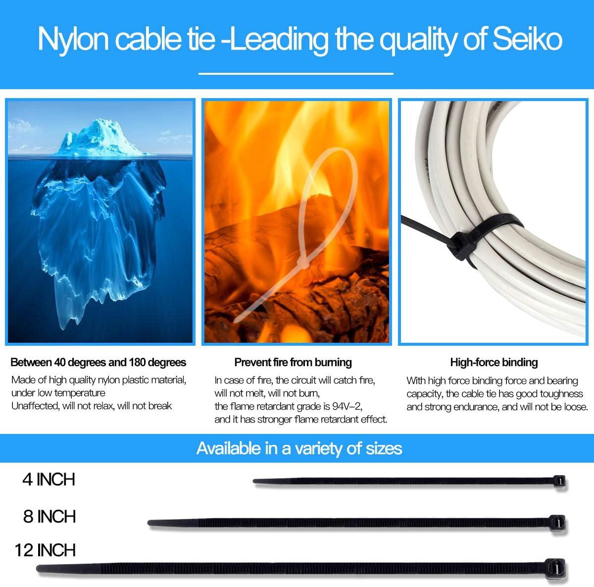 Quality Multi-Purpose Self-Locking Nylon Cable tie 200 Piece 4inch Black
