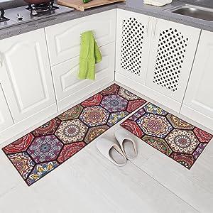 """Carvapet 2 Piece Non-Slip Kitchen Mat Runner Rug Set Doormat Vintage Design Baroque Style,Purple (15""""x47""""+15""""x23"""")"""