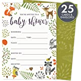 woodland baby shower invitations with owl and forest animals set of 25 fillin