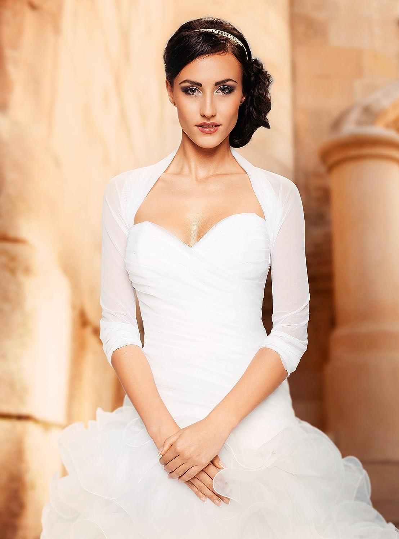 Ossa Women Bridal Ivory White Tulle Bolero Shrug Wedding Jacket Shawl S M L XL XXL XXXL