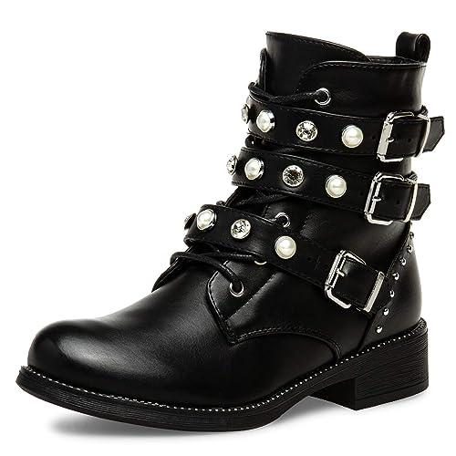 Casper SBO088 Botines Vintage para Mujer con Estrás y Perlas: Amazon.es: Zapatos y complementos