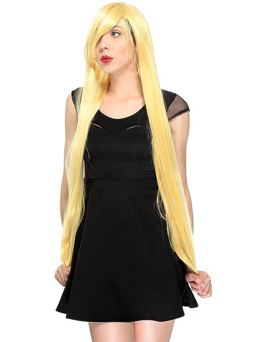 Simplicidad de la mujer completa recta larga peluca disfraz de cosplay/Fiesta peluca w/